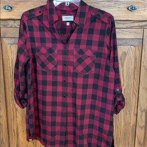 Express burgundy and black checkered  Med